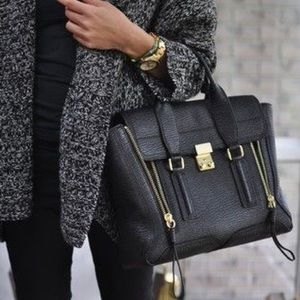PHILLIP LIM BLACK MEDIUM PASHLI LEATHER SATCHEL